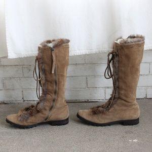 Calvin Klein Shoes - Calvin Klein Lindsey Boot Fur Suede Mid Calf 8